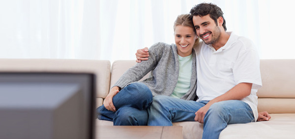 Husband and Wife Watching TV